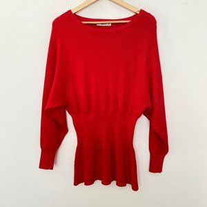 Zara Knit Small Scoop Neck Balloon Sleeve Sweater